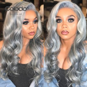 COLODO Grey Wig With Baby Hair Lace Front Wig Preplucked Body Wave Ocean Blue Brazilian Remy Human Hair Wigs For Black Women