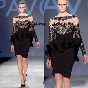 Little Black Dress 2020 Breve promenade del cocktail fodero maniche lunghe increspature del merletto di lunghezza del ginocchio Elegante occasione partito Evening Wear abito
