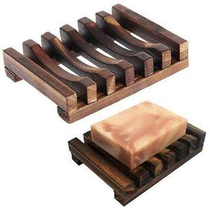 Savon Boîte en bois Savon creux naturel rack Ligneux bambou Plateau porte-savon anti-corrosion résistant à l'humidité outil rack gros Ligneux plat LSK82