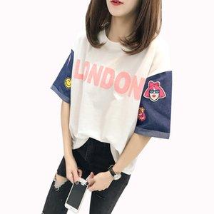 Moda bordado femenino camiseta Denim manga corta empalmado mujeres Tops letras impresas lindo estudiante camisetas de dibujos animados camiseta