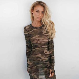 Robes Robes moulante Mode Sheer Casual Contrast à manches longues couleur Robes femmes Vêtements pour femmes Designer camouflage