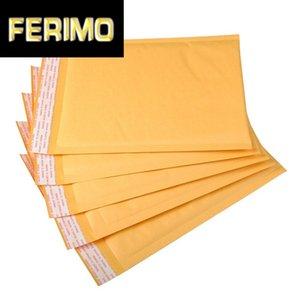 Kabarcık Hediyesi ile 10pcs Sarı Kraft Kağıt Bubble Çanta Postaları yastıklı Kargo Zarf Su geçirmez maillenmesini Kurye Çanta Sarılmış