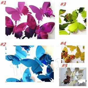 nuevos 12pcs / set del PVC etiqueta de la pared DIY estereoscópica etiqueta de la mariposa Espejo de pared de la ventana 3D Fondos de Navidad decoraciones T2I5563