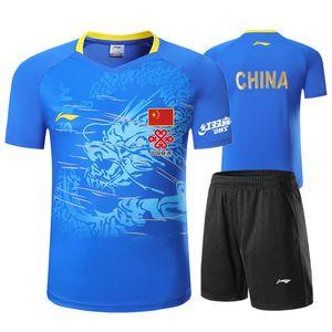 새로운 탁구 정장 남성과 여성의 중국어 팀 유니폼 용 패턴 일치 정장 짧은 소매 + 반바지 스포츠 셔츠