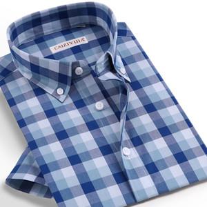 Мужские повседневные рубашки Caiziyijia Летняя мужская кнопка нажатой клетчатую рубашку для мужчин Стандартный Fit Hawaiian с коротким рукавом хлопок 4XL Camisa Masculina