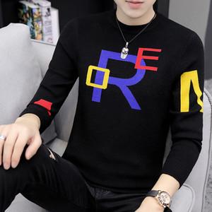2019 Nova malha Men Sweater Bonito Hip Hop Mens Natal blusas gola redonda Slim Fit Keep Warm Inverno Pull Homme