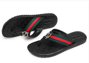 Hot designer sandálias sandálias dos homens moda slides Marca sandálias listradas fivela de ouro chinelos huaraches flip flops chinelo tamanho 39-44