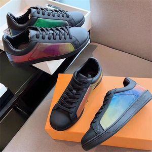 فاخر مصمم أحذية ريفولي حذاء رياضة التمهيد لوكسمبورغ قزحي الألوان أحذية عالية الأعلى المدربين حقيقي جلد النساء حذاء مسطح مع مربع