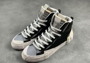Sacai X Blazer Mid Con la schiacciata correnti del mens dei pattini casuali High Cut Bianco Grigio Nero Università Blu Varsity Maize sneakers sportive