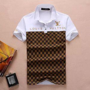 Marca 2020 Mens t-shirt Stripe Moda splicing Designer Bee lapela algodão de manga curta POLO T Shirt Homme Asiático Tamanho M-3XL # AA07