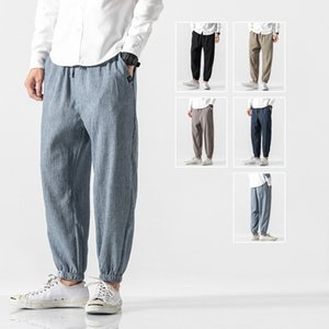 new fashion large size loose linen 9-point Leggings men's Chinese style cotton and linen solid color casual pants
