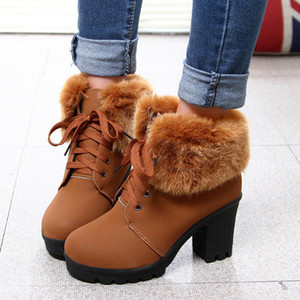 High Heels Ankle Boots For Women Vintage Waterproof Warm Platform Winter Shoes Lace Up Fur Leather Snow Women Boots