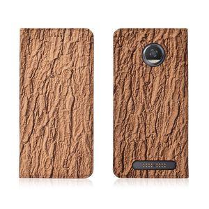 Motif d'écorce véritable Flip Case en cuir pour Motorola Moto Case Z2 Play téléphone avec porte-cartes pour Motorola Moto Z2 Jouer Téléphone Sac Béquille