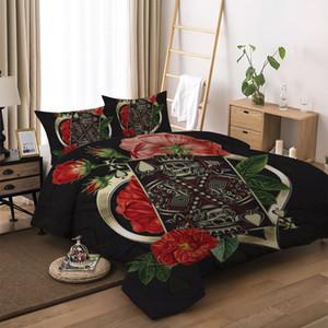 الموضة مودرن السرير Set Single Double King Bed Cover Suit with 3D Print flowers skull of Bedding Set Cover