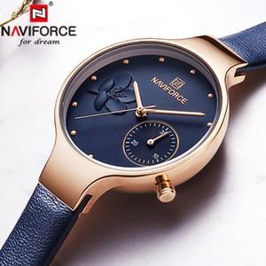 Naviforce Assista Mulheres de couro de luxo Quartz Mulher Assista Couro Relógios de mão Relógios Mulheres Moda Watch 2019 Relógio Feminino SH190929