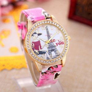 Урожай Эйфелева башня Любовь шаблон европейские и американские женщины Часы с Алмазными ремнями Горячих продаж