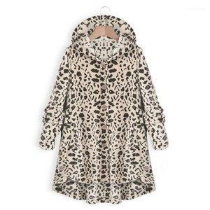 Chaquetas de la manera floja ocasional con capucha solo pecho abrigos Mujer Vestidoes más el tamaño de ropa de las mujeres del nuevo leopardo