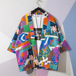 Traditionelle japanische Art-Kimono Ukiyo-e Karikatur-Druck Yukata Hemd Sommer-Art- und Haori Harajuku Strand Outwear Mantel
