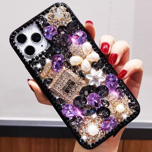 Shiny Rhinestone Diamond Phone case DIY perfume bottle and flower Cover cases for iphone 11Pro max XS XR MAX iphone6 7 8plus
