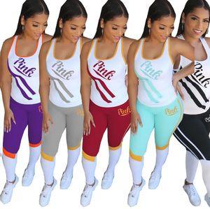 PINK Mulheres Treino com painéis t-shirt sem mangas set 2 peças + BODYCON calças de verão vestuário desportivo executando ocasional terno trajes 2962