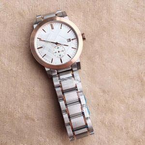 Top Hommes Montre-bracelet 42MM Style britannique Quartz Chronographe Date Montre Homme Montres Deux Tons Bracelet En Acier Inoxydable Cadran Blanc