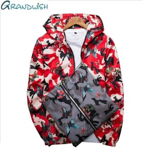 Grandwish erkek Kapüşonlu Ceketler Erkek Dış Giyim Giyim Rüzgarlık Çiçek Ceket erkek Jcaket Bahar Sonbahar Doudoune Homme, za119 SH190824