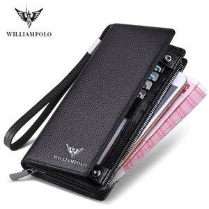 WilliamPOLO 2019 New Mens Wallet Reißverschluss HASP Design Long echtes Leder Gecshäftsrufnummer Für s-Kupplungs-Mappen-Mann-Geschenk