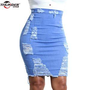 Ripped Jupe en denim femmes Été Bleu clair Casual taille haute court Jeans Jupe crayon Trou Sexy Jupes Femmes Jupe Faldas Y19043002