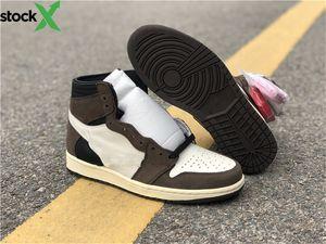 Top Quality Travis Scott 1 High Olimpiadi Cactus Jack Uomini s Jordon scarpe da basket 1s Scarpe Moda Donna Sail Nero Testa di Mocha all'aria aperta