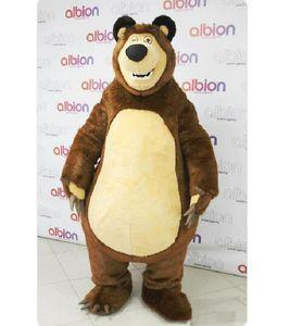 2019 Haute qualité Masha Bear Ursa Grizzly Mascot Costumes Animal Masha Bear adulte Cartoon Mascot Character