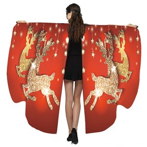 Women Sexy Wings Christmas Print Shawl Ladies Cloak Cape Costume Party Accessory Women's Tops & Tees Women's Clothing