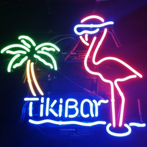 "17""x14""Tiki Bar Flamingo Palm Tree MAN CAVE BEER BAR PUB WALL DECOR LAMP ADVERTISING NEON LIGHT SIGN"