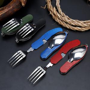 4 في 1 أدوات المائدة في الهواء الطلق (شوكة / ملعقة / سكين / فتاحة زجاجات) التخييم الفولاذ المقاوم للصدأ للطي مجموعات الجيب للمشي بقاء السفر ZZA920