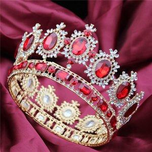 Düğün Tiaras ve Kron Büyük Kristal Rhinestone Diadem Gelin Headdress Saç Takı Y200727 için geniş Kraliçe Kral Yarışması Taç