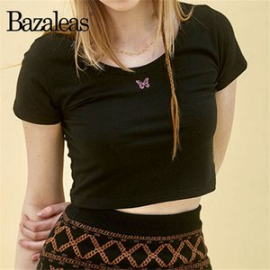 bordados Borboleta Moda Bazaleas Cortar camisa Top harajuku preto colheu t das mulheres T-shirt bonito mulheres gótico camisetas