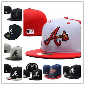 2020 Beaucoup de couleurs chaudes Hommes Braves Aménagée chapeaux Brim plat brodé Un logo sur le terrain les fans d'Atlanta Casquettes de base pleine capitalisation fermé