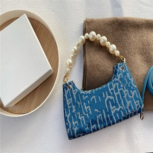 Light blue jacquard pearl handbag designed by senior designer, pearl detachable size 28 * 12cm