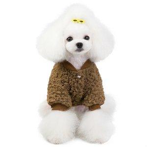 Escudo de punto suéter suéter del animal doméstico caliente suave ocasional de la camisa del perrito de la chaqueta del botón del traje de manga corta camisa de la manera ropa para perros