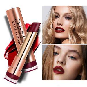 20 colores DRXINER Matte Lipstick Hidratante Batom Lip Maquillage Soft Creamy Sexy Red Dark Purple Nude Liquid Lipstick Makeup