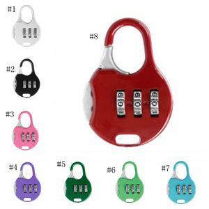 Mini-Vorhängeschloss 3 Zifferblatt-Digit-Passwort-Kombinationsschlösser Gepäck-Metall-Code-Lock-Reise-Gym-Locker Patry-Gunst 8 Farben Großhandel DSL-YW3044