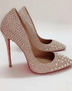 2019 NOVO HOT Moda Heels Rebites Designer Luxo Red inferior Bottoms alta salto saltos pretos do casamento de prata Bombas Mulheres vestido Womens Shoe R01