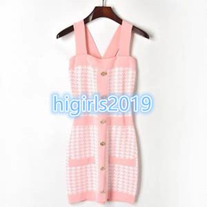 High-end donna grils slip dress dress STRETCH VISCOSE Knitted slim bodycon Abiti con bottone Brand Same Style Pullover Runway Dresses 2c