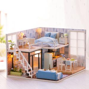 HOME-DIY casa de boneca de madeira em miniatura boneca Casas Dollhouse Furniture Kit Brinquedos para crianças K201