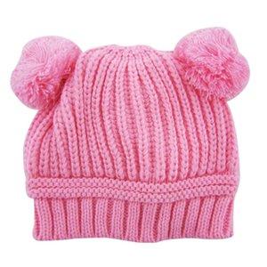Winter Warm Kids Baby Girls Boys Dual Balls Ear Wool Knit Crochet Hairball Hat