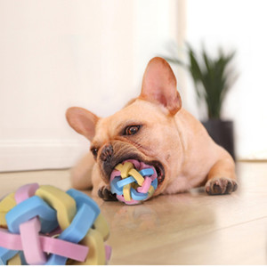 Pet Dog Sound elastic Chew ball knit contrast color grind teeth ball toothbrush Chews Toy Balls Training Pet Product will and sandy pet