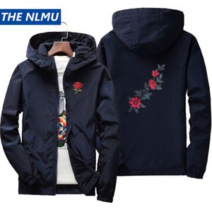 Jackets 2019 Rose Embroidery Thin Jackets Men Women Streetwear Polyester Jacket Coat Hip Hop Casual Autumn Windproof Plus Size HA71