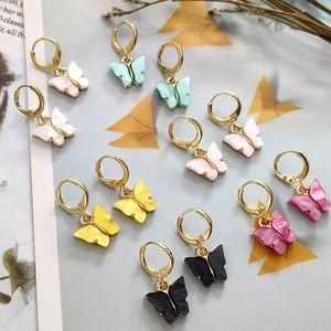 Pendientes de la manera de acrílico del color de la mariposa del perno prisionero 2020 nuevos mujeres Pendientes Animal accesorios dulces joyas de colores Pendientes de niñas