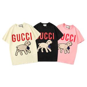 Italiana etiqueta camiseta de los pares de impresión LABRADORRETRIEVER triste de manga corta de moda de la calle de manga corta de la camiseta linda camiseta