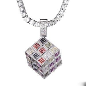 Zircon Collier Cube Pendentif Homme Ice Out Rubik plaqué or Bijoux homme cristal Hip Hip Collier