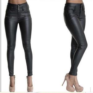 Kadın Sıkı Pantolon Yüksek Bel Düğmesi Deri Pantolon Dokuma Cortex Düğme Düz Renk Sıska Kalem Pantolon 40
